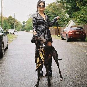 Miu Miu vampy black vinyl raincoat, size 6